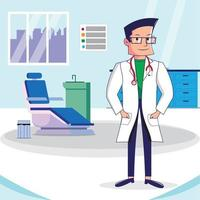 Character design of Doctor with Hospital. vector