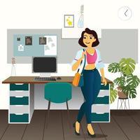 Cartoon design of working woman standing happily in her office. vector