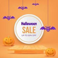 3d halloween sale design with pumpkin, wooden table. vector