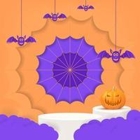 3d halloween party design with pumpkin, cloud, bat. vector