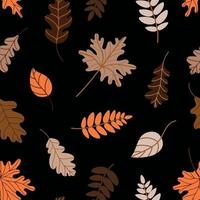 Seamless pattern of assorted withered leaves on dark green background vector