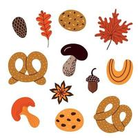 Set of various pastry food and autumnal leaves vector