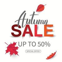 Vector Sale Autumn banner.Special Offer, up to 50. flyer.