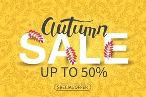 Vector Sale autumn background. Special Offer, up to 50