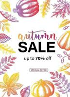 Vector Autumn Sale. Lettering. Special Offer, up to 50. Advertising