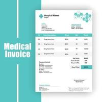 Medical invoice template vector