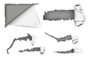 conjunto de papel rasgado vector