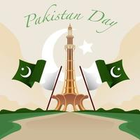 The Minar E With Pakistan Flags vector