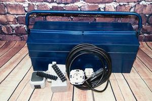 Toolbox with electronic material and equipment for installation photo