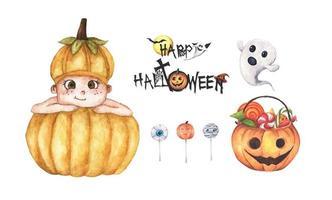 conjunto de decoraciones de halloween. Ilustración acuarela. vector