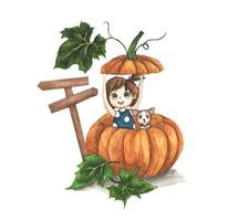 Cute little girl with dog in a big pumpkin. watercolor illustration. vector