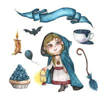 Set of Halloween decorations. Watercolor illustration. vector