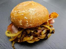 Baconburger with grilled Burgundy Bacon and roasted onions photo