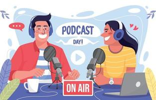 Man and Woman Talking in a Podcast vector
