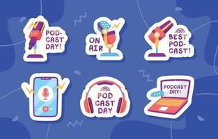 Podcast Day Sticker Collection vector