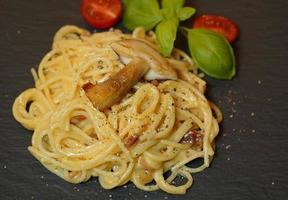 Italian dish spaghetti a la carbonara photo