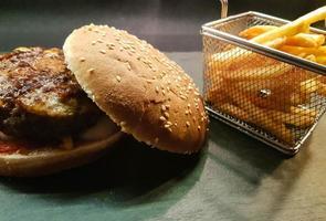 Homemade chilly cheese burger patties photo