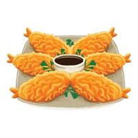 tempura japanese food in flat design style vector