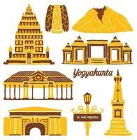 yogyakarta city landmark in flat design style vector