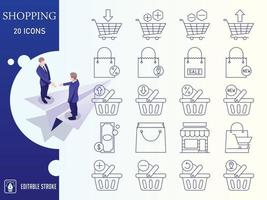 Outline Shopping And E-Commerce Icon Set vector