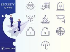 Outline Security Icon set vector