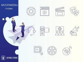Outline Multimedia Icon Set vector