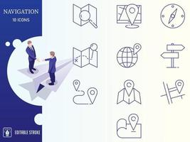 Outline Navigation and Map Icon Set vector