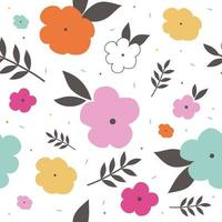 colorful flower pattern with leaf and small circle vector