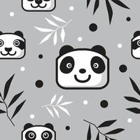 cute panda head pattern with bamboo leaf vector
