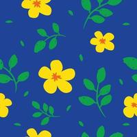 yellow flower pattern with blue background and green leaf vector