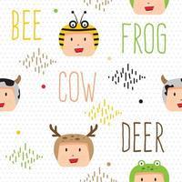 cute animal head pattern vector