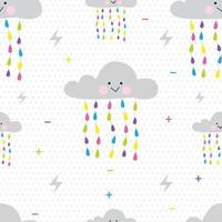 cute cloud pattern with colorful rain water vector