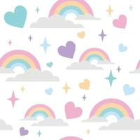 rainbow pattern with love heart and star ornament vector