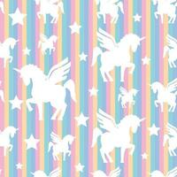 cute unicorn pattern with rainbow color vector