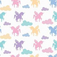 cute unicorn pattern with colorful cloud shape vector