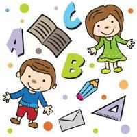 back to school pattern with alphabet vector