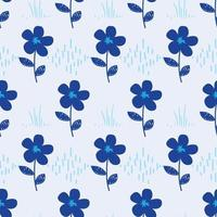 blue flower pattern for fabric vector