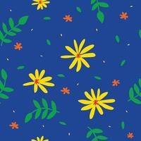 yellow flower pattern with blue background vector