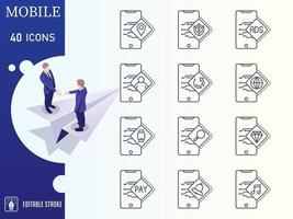 Outline Mobile Icon Set vector