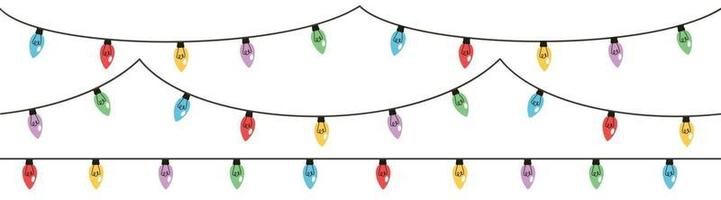 Christmas ligh. Garlands with colored bulbs. Vector