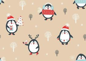 Seamless pattern with penguins. Vector