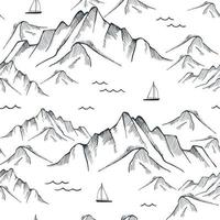 Seamless pattern with mountain, sea and sailing ships. Vector