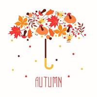 Hello autumn. Hand drawn abstract poster with leafs. Vector