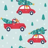 Winter seamless pattern with red car and christmas tree. Vecto vector