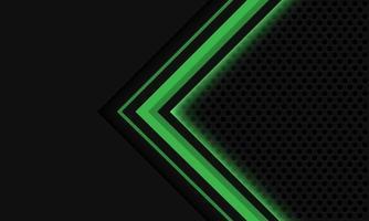 Abstract grey green light arrow circle mesh vector