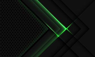 Abstract grey metallic overlap green light circle mesh vector