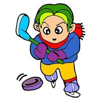 boy cartoon illustration playing hockey vector