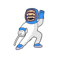 cartoon illustration of a boy playing fencing vector