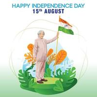 India Independence Day Greetings with a Master Holding Indian Flag vector