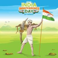 India Independence Greetings by Farmer with Indian Flag vector